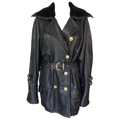 Gianni Versace 1990's Black Leather Belted Knee-Length Coat