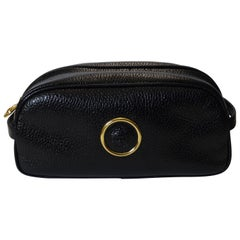 Gianni Versace 1990s Black Leather Cosmetic Bag