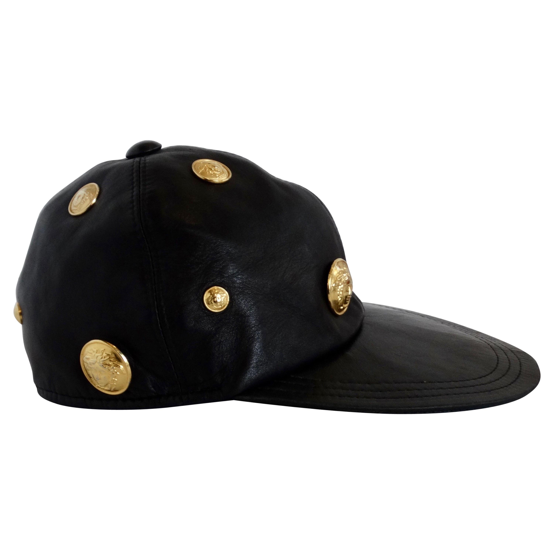 Gianni Versace 1990s Black Leather Medusa Hat