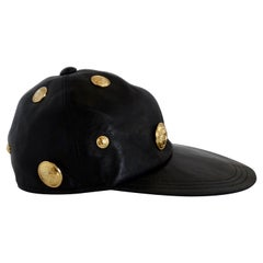 Gianni Versace 1990s Black Leather Medusa Hat