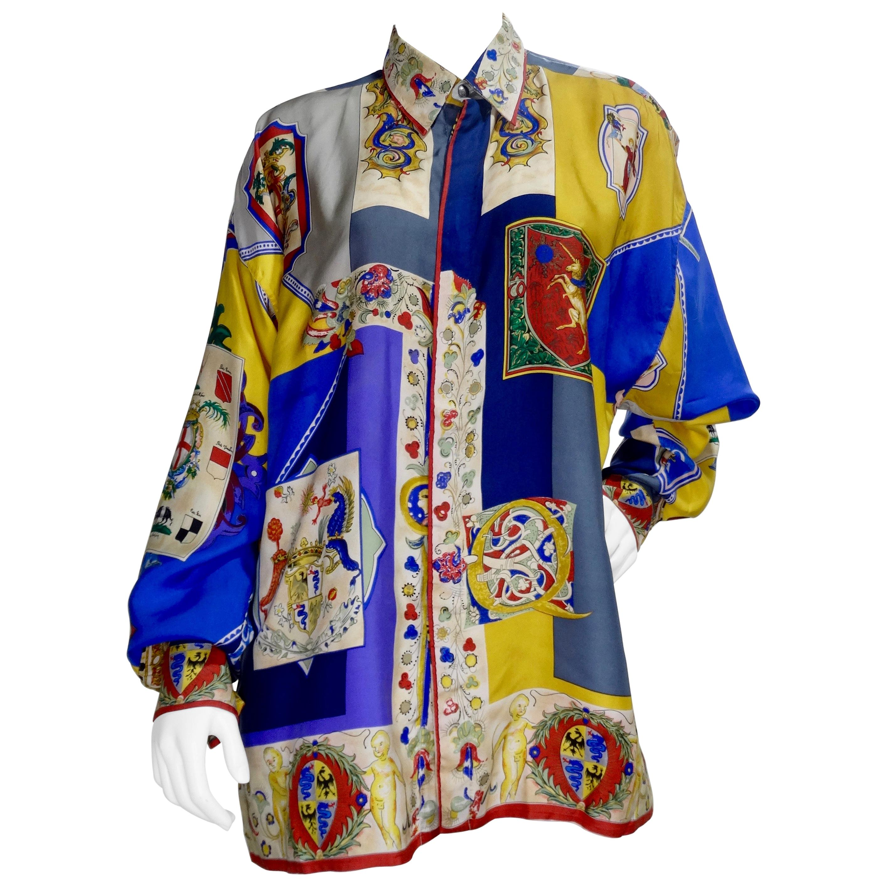Gianni Versace 1990s Coat of Arms Silk Shirt