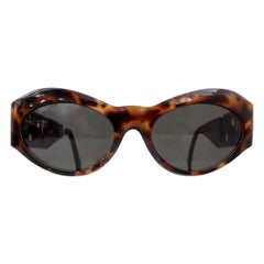 Gianni Versace 1990s Greek Key Tortoise Sunglasses