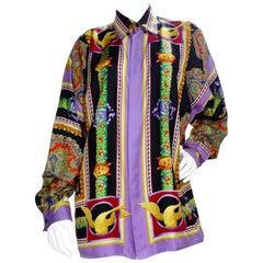 Gianni Versace 1990s Greek Theater Silk Shirt