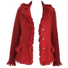 Gianni Versace 1990's Medusa Lipstick Red Tweed Fringe Fitted Jacket IT 38/ 2 4