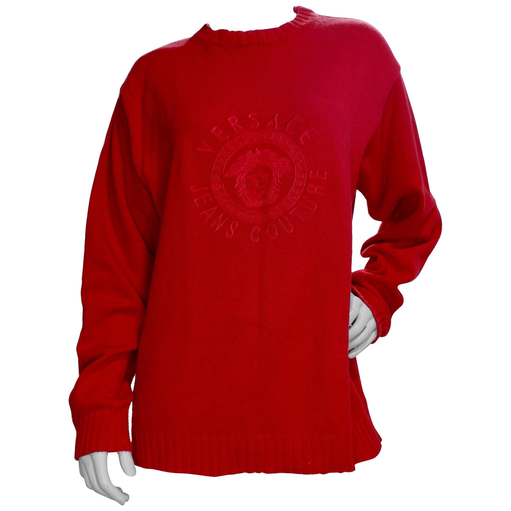 Gianni Versace 1990s Medusa Red Sweater