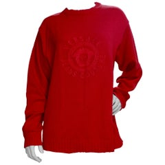 Gianni Versace 1990s Medusa Red Sweater
