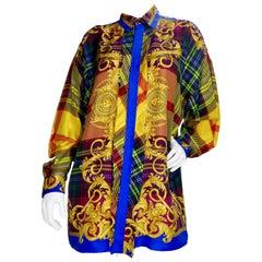 Gianni Versace 1990s Multi-Colored Plaid Silk Shirt