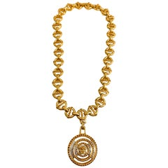 Gianni Versace 1990s necklace with circular medusa head pendent
