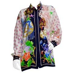 Gianni Versace 1990s Ocean Print Silk Shirt