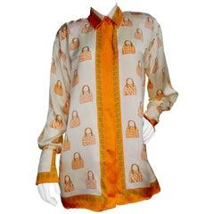Gianni Versace 1990s V2 Handbag Motif Silk Shirt