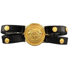 GIANNI VERSACE 1992 Black Leather Double Strap Gold Tone Medusa Choker
