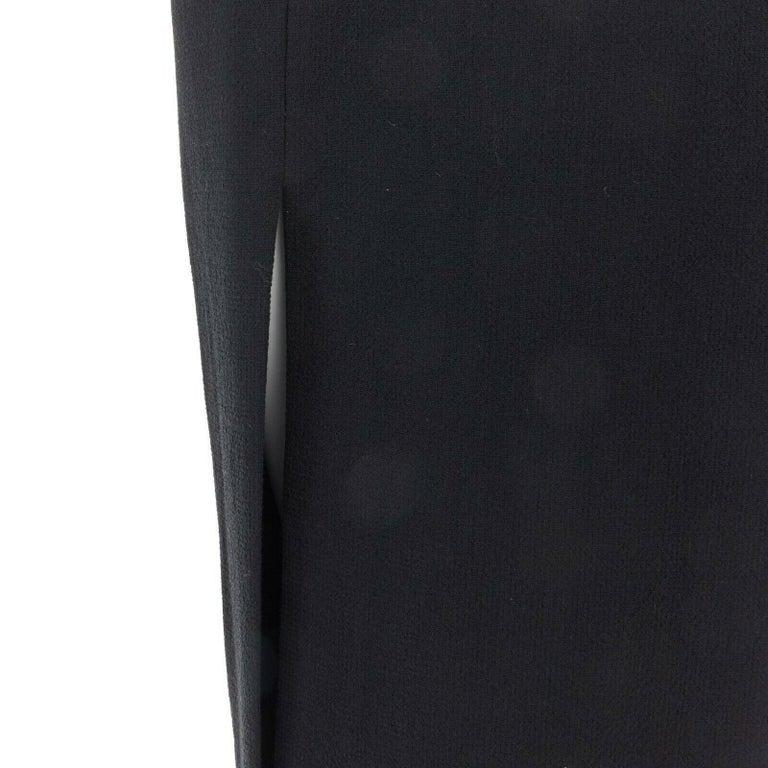 GIANNI VERSACE 1992 black silk wool off shoulder front slit gown dress IT40 S For Sale 6