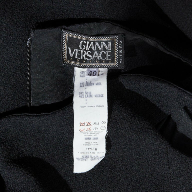 GIANNI VERSACE 1992 black silk wool off shoulder front slit gown dress IT40 S For Sale 7