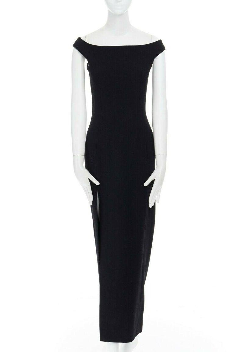 Women's GIANNI VERSACE 1992 black silk wool off shoulder front slit gown dress IT40 S For Sale