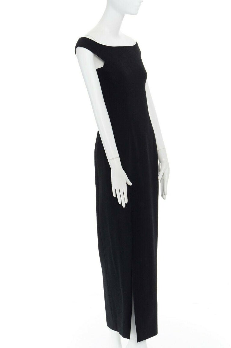 GIANNI VERSACE 1992 black silk wool off shoulder front slit gown dress IT40 S For Sale 1