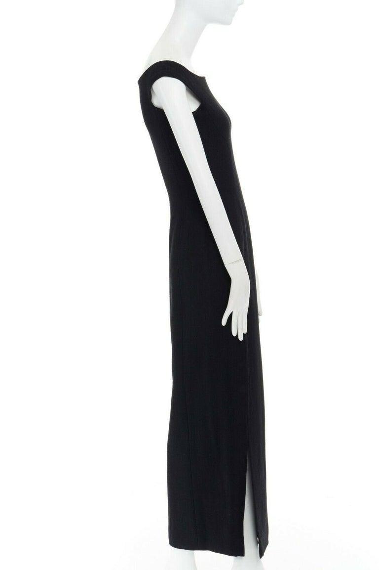 GIANNI VERSACE 1992 black silk wool off shoulder front slit gown dress IT40 S For Sale 2