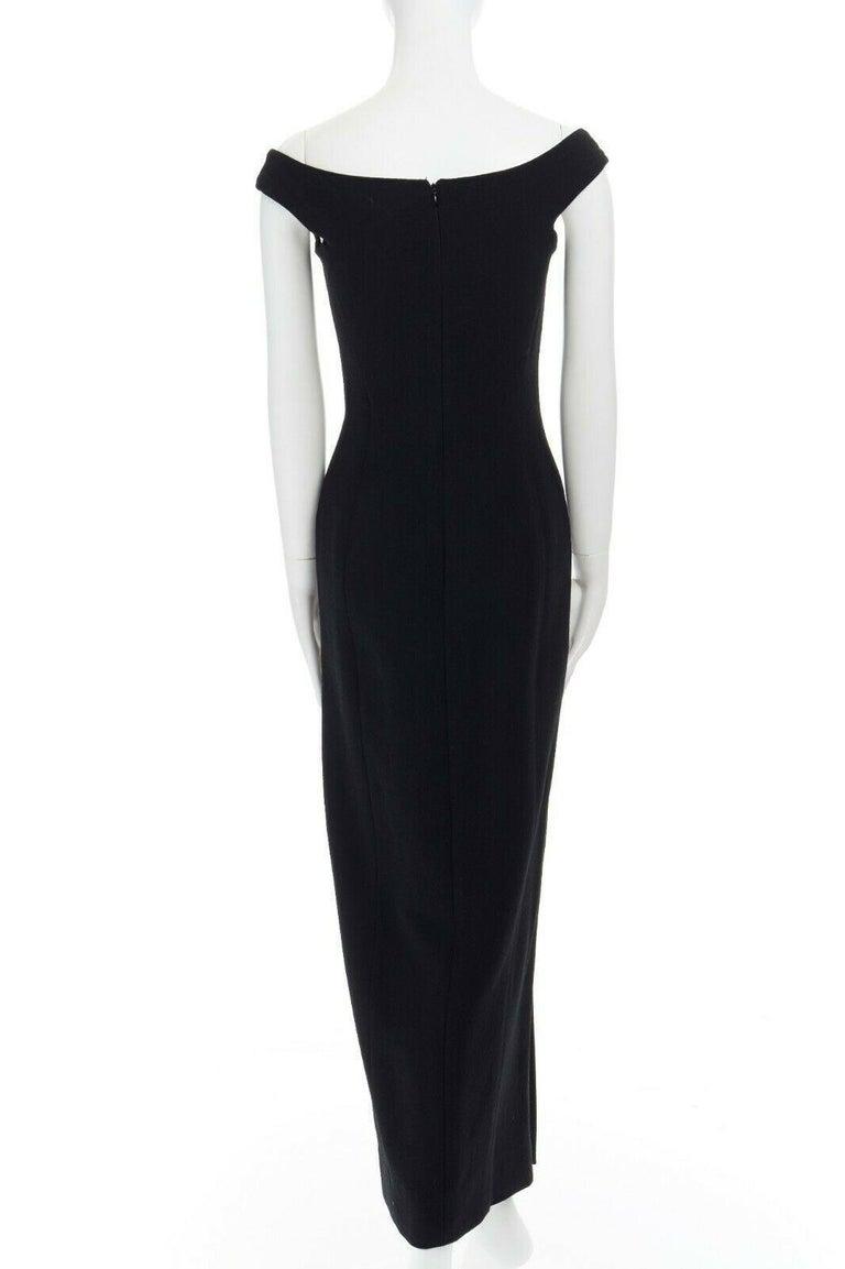 GIANNI VERSACE 1992 black silk wool off shoulder front slit gown dress IT40 S For Sale 3