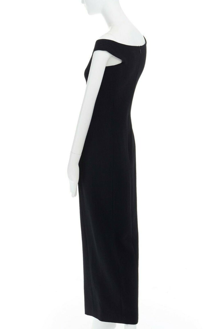 GIANNI VERSACE 1992 black silk wool off shoulder front slit gown dress IT40 S For Sale 4