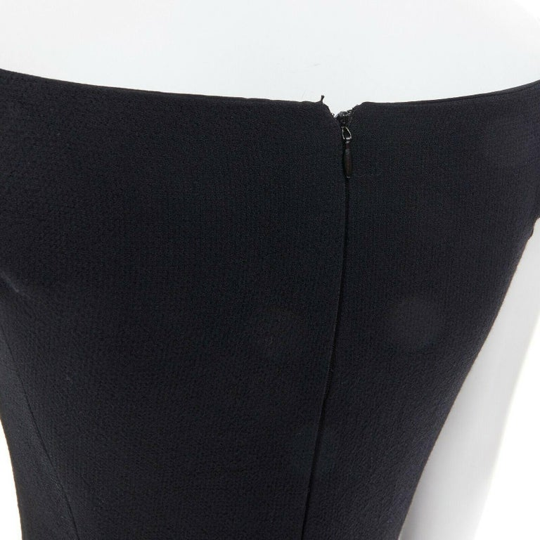 GIANNI VERSACE 1992 black silk wool off shoulder front slit gown dress IT40 S For Sale 5