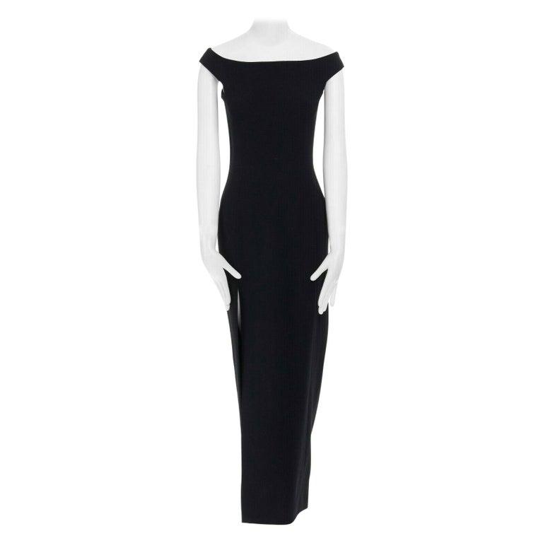 GIANNI VERSACE 1992 black silk wool off shoulder front slit gown dress IT40 S For Sale