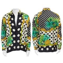 GIANNI VERSACE 1993 black white polka dot palm tree medallion silk shirt IT46 S