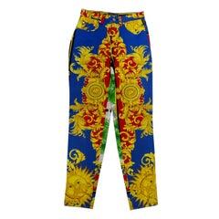 Gianni Versace 1993 Sun Baroque Print Jeans