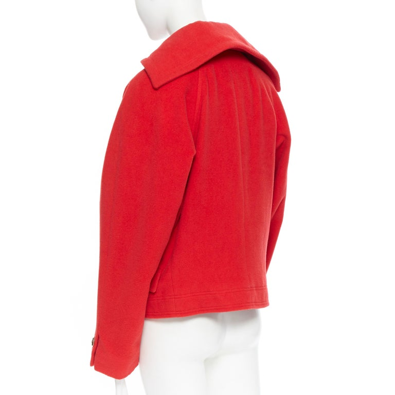 Women's GIANNI VERSACE 1993 Vintage red wool Medusa button double breasted coat M For Sale