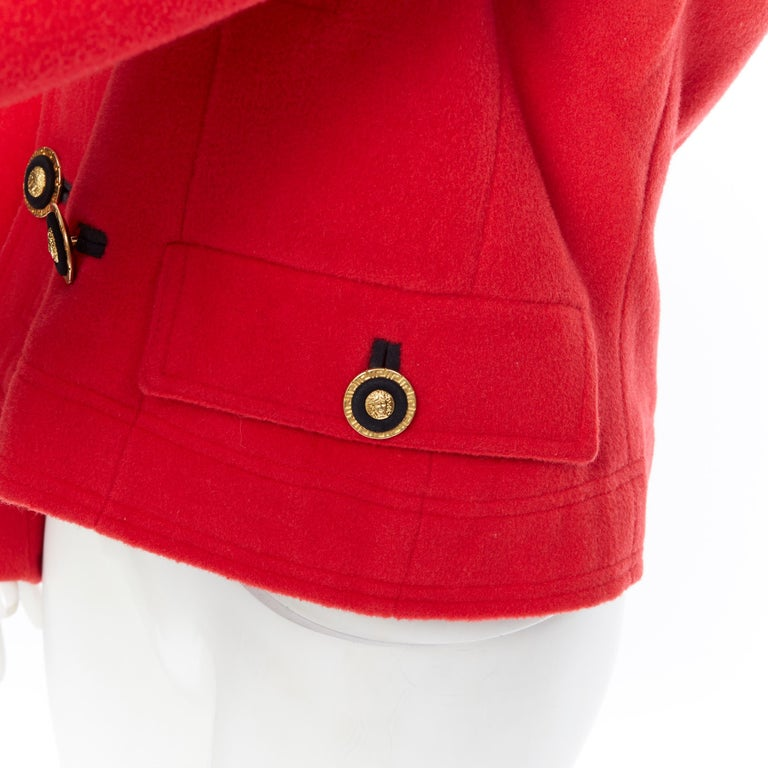 GIANNI VERSACE 1993 Vintage red wool Medusa button double breasted coat M For Sale 4