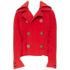 GIANNI VERSACE 1993 Vintage red wool Medusa button double breasted coat M