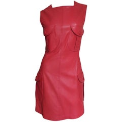 Gianni Versace 1996 Red Leather Dress