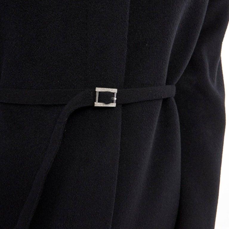 GIANNI VERSACE 1998 black angora wool cashmere oversized fur collar coat IT42 M For Sale 6