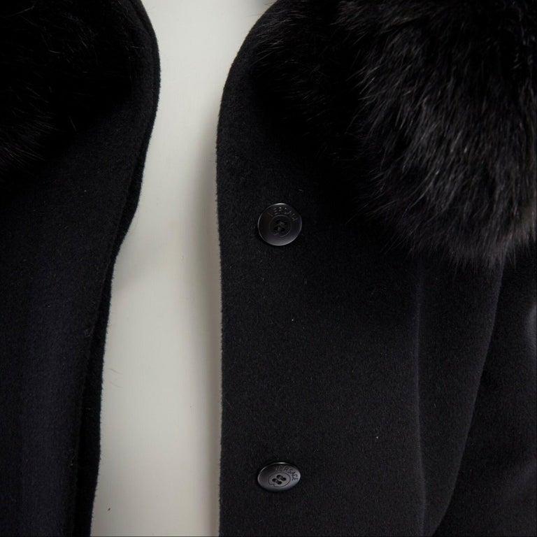 GIANNI VERSACE 1998 black angora wool cashmere oversized fur collar coat IT42 M For Sale 7