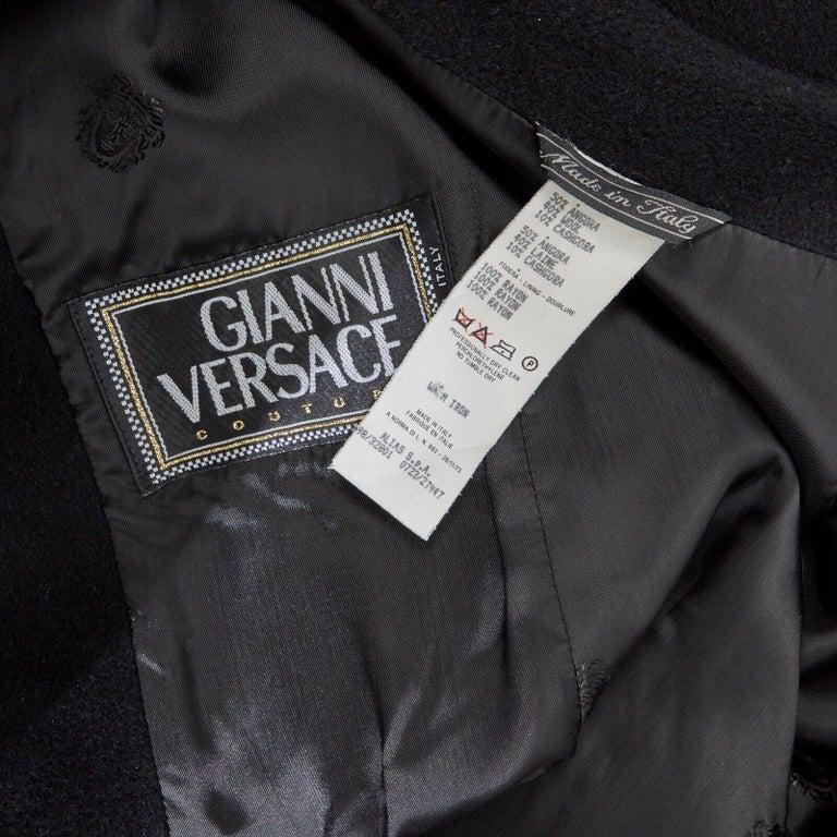 GIANNI VERSACE 1998 black angora wool cashmere oversized fur collar coat IT42 M For Sale 8