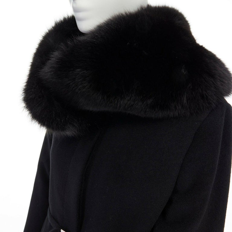 GIANNI VERSACE 1998 black angora wool cashmere oversized fur collar coat IT42 M  GIANNI VERSACE FROM THE FALL WINTER 1998 COLLECTION Angora, wool, cashgora blend. Black. Oversized fur collar. Lightly padded shoulder. Long sleeves. Concealed button