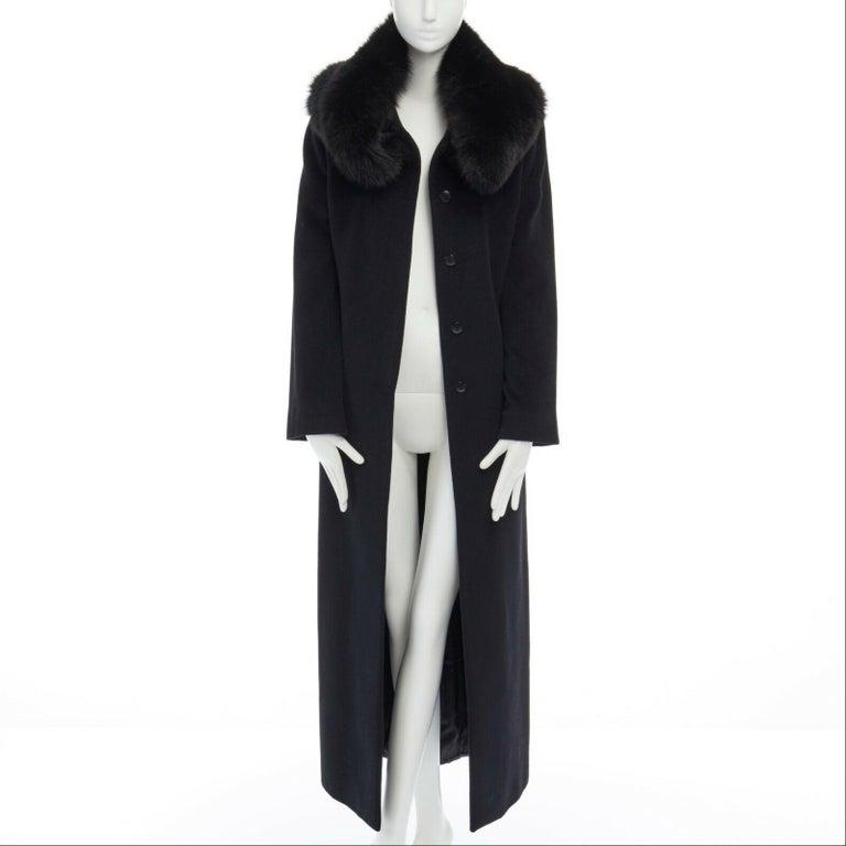 Women's GIANNI VERSACE 1998 black angora wool cashmere oversized fur collar coat IT42 M For Sale