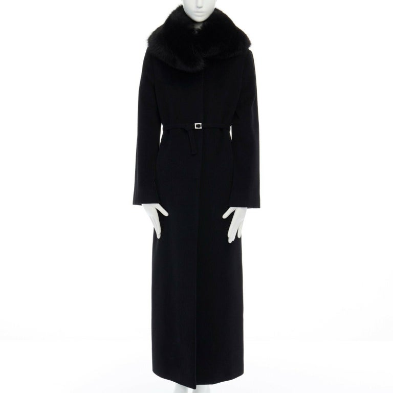 GIANNI VERSACE 1998 black angora wool cashmere oversized fur collar coat IT42 M For Sale 1