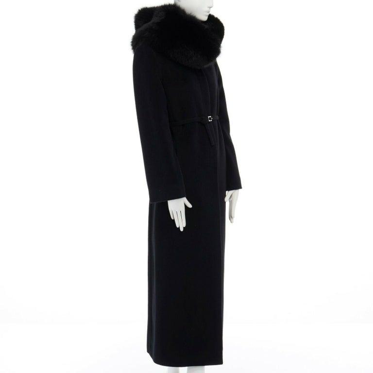 GIANNI VERSACE 1998 black angora wool cashmere oversized fur collar coat IT42 M For Sale 2