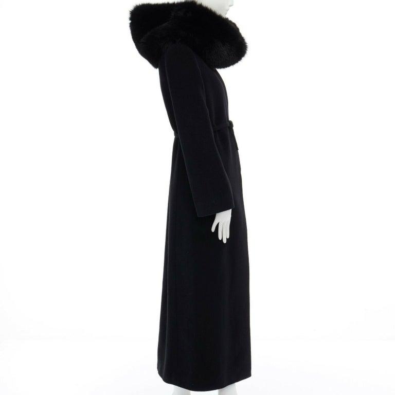 GIANNI VERSACE 1998 black angora wool cashmere oversized fur collar coat IT42 M For Sale 3