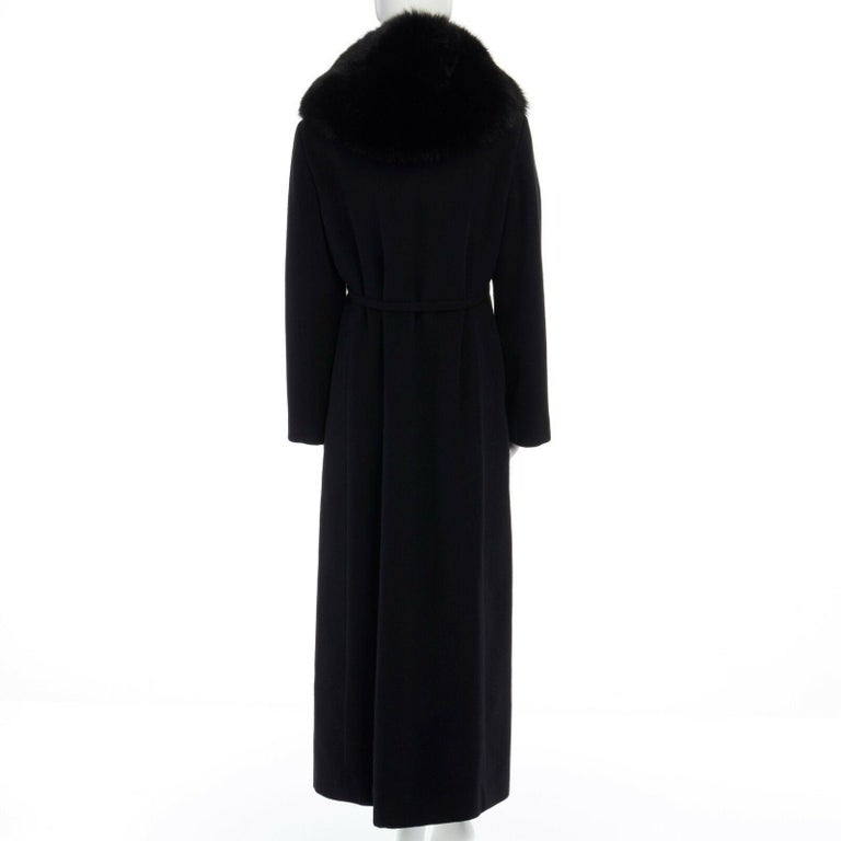 GIANNI VERSACE 1998 black angora wool cashmere oversized fur collar coat IT42 M For Sale 4