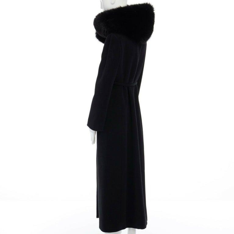 GIANNI VERSACE 1998 black angora wool cashmere oversized fur collar coat IT42 M For Sale 5