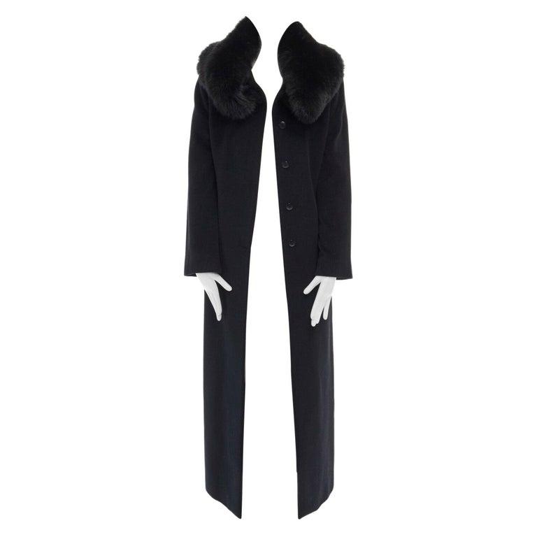 GIANNI VERSACE 1998 black angora wool cashmere oversized fur collar coat IT42 M For Sale
