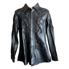 Gianni Versace 1999 Western Style Tooled Leather Men's Shirt