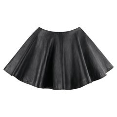 GIANNI VERSACE A/W 1994 Black Leather A-Line Micro Mini Circle Skirt