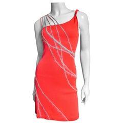Gianni Versace Angora Trimmed One Shoulder Dress 1990s