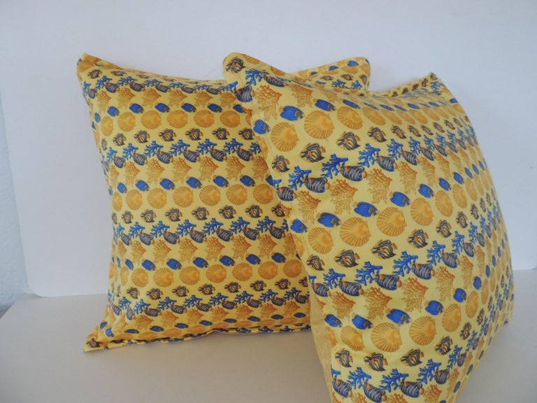 Late 20th Century Gianni Versace Authentic Seashells and Coral Printed Decorative Pillow For Sale