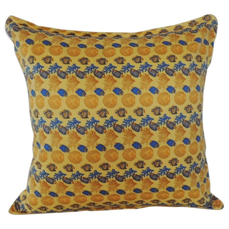 Gianni Versace Authentic Seashells and Coral Printed Decorative Pillow For Sale
