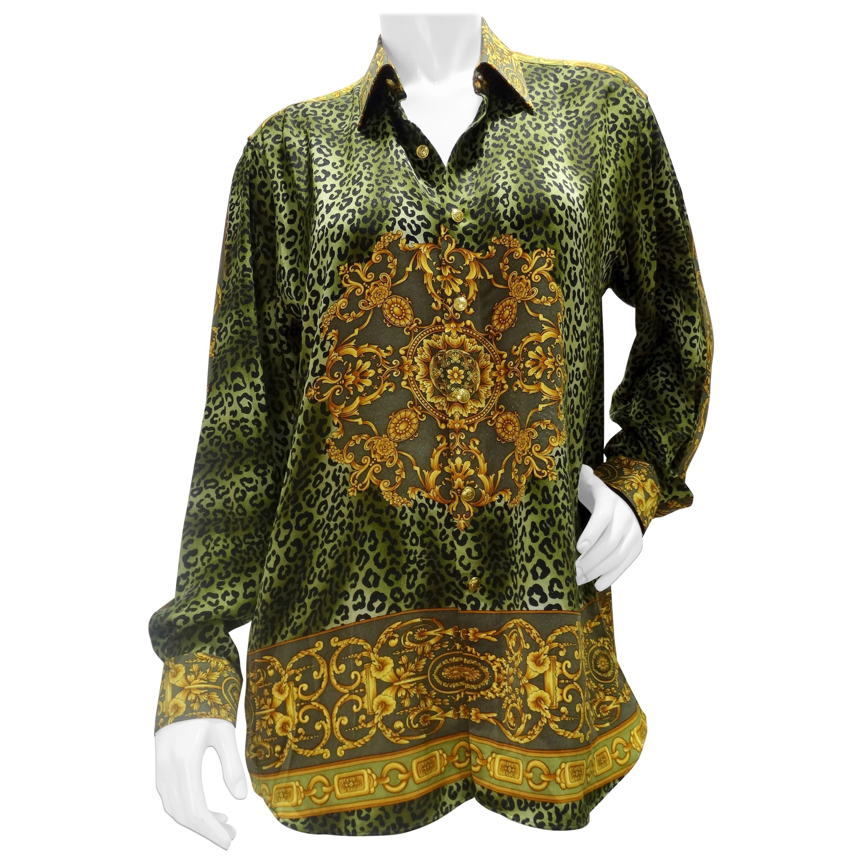 Gianni Versace Baroque Leopard Print Silk Blouse