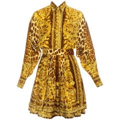 Gianni Versace baroque leopard printed silk blouse and skirt ensemble, ss 1992