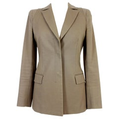 Gianni Versace Beige 2010 Structured Cotton Jacket Blazer Gold Button