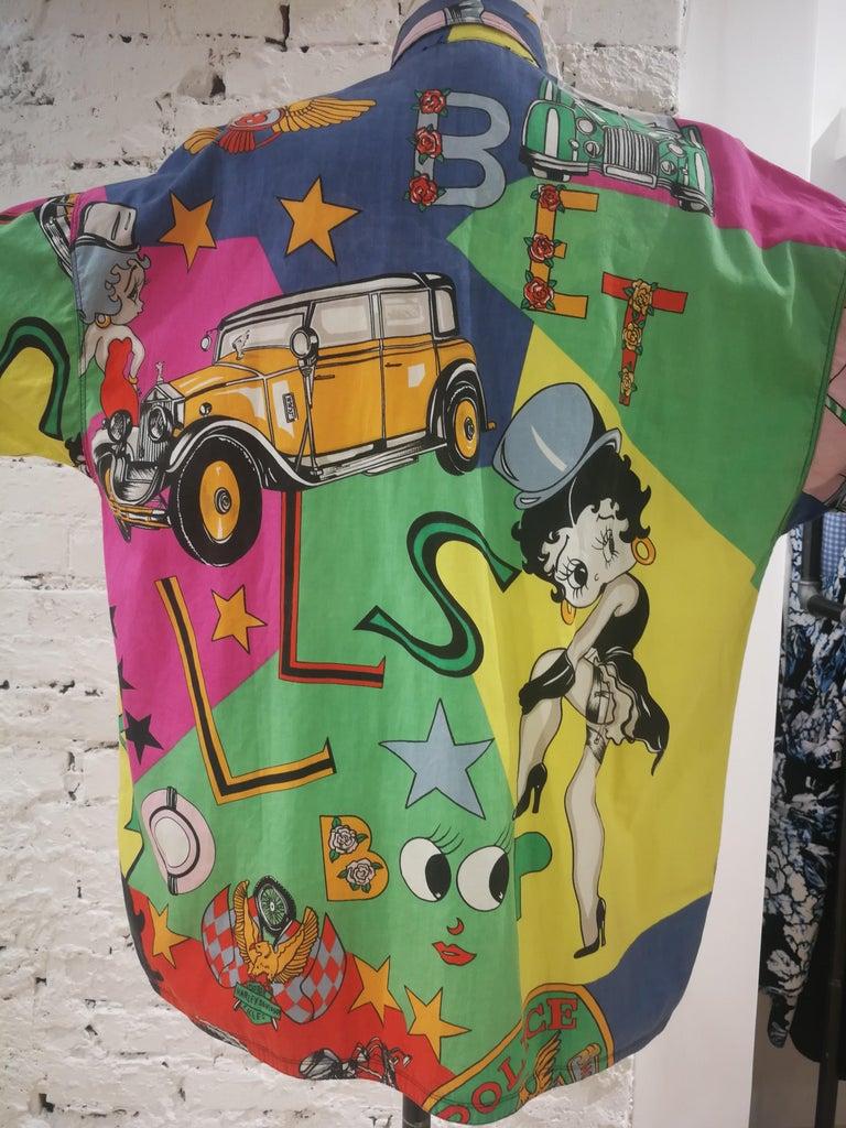 Gianni Versace Betty Boop Harley Davidson print Shirt For Sale 5